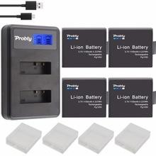 4pcs PG1050 SJ4000 PG900 battery + USB LCD Dual charger For SJCAM SJ5000 SJ6000 SJ8000 M10 EKEN 4K H8 H9 GIT LB101 GIT BATTERY