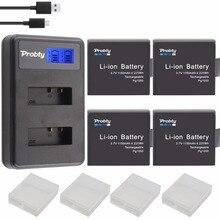 Bateria + carregador duplo usb lcd, 4 unidades pg1050 sj4000 pg900 para sjcam sj5000 sj6000 sj8000 m10 eken 4k bateria de GIT LB101 dígitos h8 h9