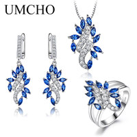 UMCHO 925 Sterling Silver Jewelry Set for Women Blue Sapphire Gemstone Ring Pendant Drop Earring Engagement Jewelry