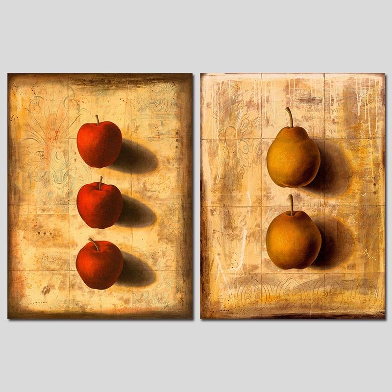 Retro 2pcs/set 3D Still life fruit red apple pear decoration wall ...