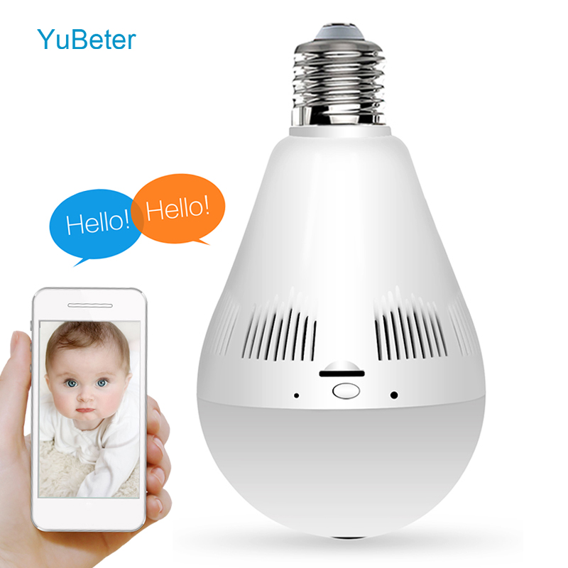 YuBeter 2MP 3MP 360 wifi IP Camera Lamp Bulb Fisheye Home Security HD Wireless Surveillance Cameras