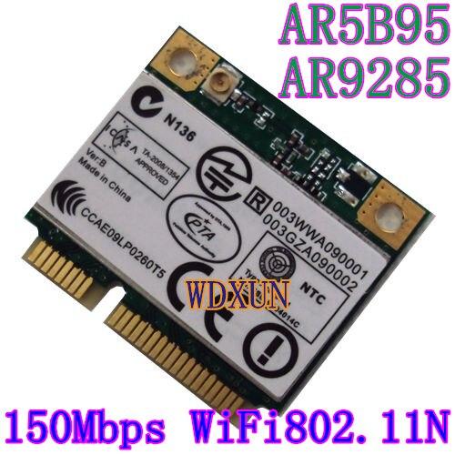 Atheros 9285 ar5b95 ar9285 802.11b/g/n 150 mbps wlan demi mini pci-e wifi carte sans fil pour dell asus acer sony toshiba notebook