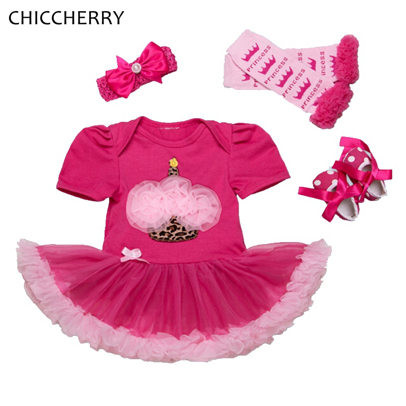 Cupcake Toddler Birthday Tutu Outfits Lace Romper Dress Headband Leg Warmers Crib Shoes Baby Girl Clothes Infantil Conjunto Bebe