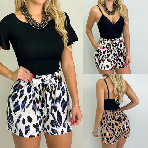 Fashion Womens Casual High Waist Leopard Printed Loose Hot Pant Summer Shorts