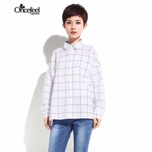 Blouse Spring new high-end clothing 2017 women's shirt Loose wild long plaid kimono Single row buckle straight type WXTCST1776