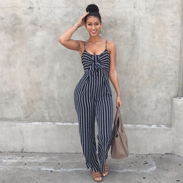 9c66ac189 Women Striped Wide Legs Jumpsuit Tie Front Spaghetti Straps Sleeveless  Casual Playsuit Rompers Tracksuit Korean Fashion Pantsuit