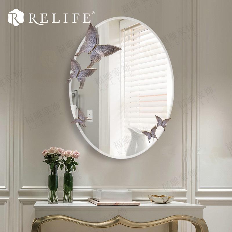 ovalada moderna casa decoracin de la pared de resina mariposa decorativo espejo de pared para cuarto de bao