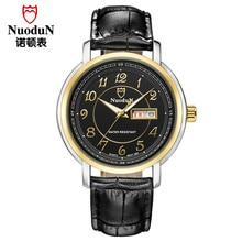 Reloj de Lujo de Los Hombres Masculinos de Cuero negro Correa de Reloj de Cuarzo Nuodun Casual Watch Calendario Famosa Marca Reloj de pulsera Relogio masculino
