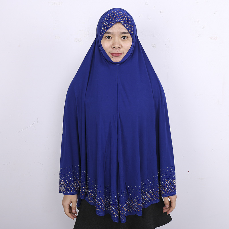 Quality Plain Muslim Women Khimar With Diamonds Islamic Arab Soft Breathable Niqab Prayer Hijab Cap Islamic Clothing 100x90cm
