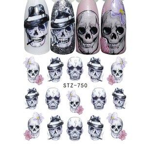 Image 3 - 24 stücke Kühlen Halloween Sliders Nail art Aufkleber DIY Wasser Temporäre Tattoos Clown Schädel Designs für Maniküre Decals CHSTZ731 755