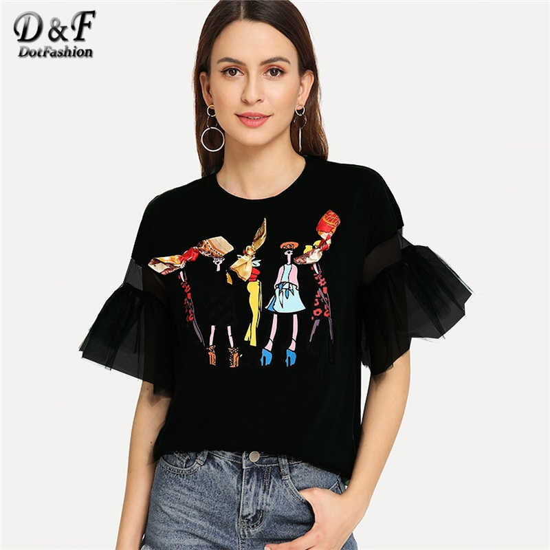 Dotfashion Black Lace Bow Cartoon Print Tee Women Autumn 2019 Fashion Clothes Casual Flounce Sleeve Tops Summer Preppy T-Shirt