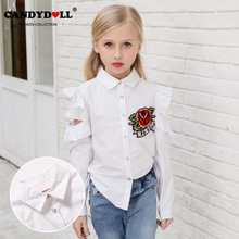 CANDYDOLL The new autumn childrens dress shirt is fashionable with cotton long sleeve girls and flower