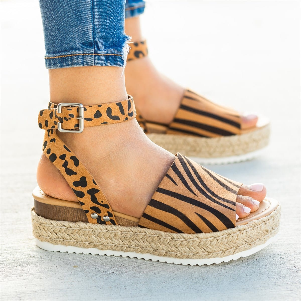 LAAMEI Wedges Shoes Platform Sandals Slides High-Heels Leopard Plus-Size Femme Women