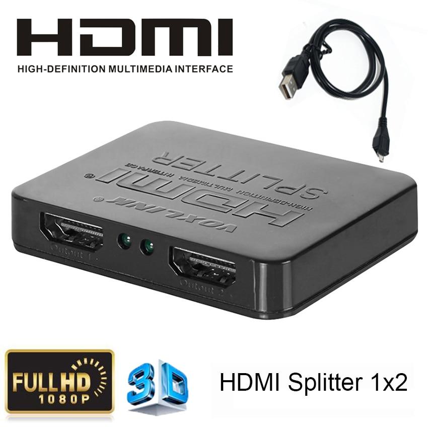 Mini Full HD1080p 1 x2 HDMI switch 3D 1 input 2 output HDMI Splitter audio video
