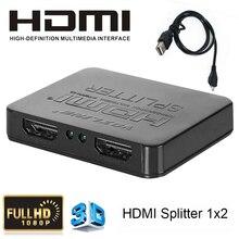 Mini Hd1080p 1×2 conmutador HDMI 3D 1 entrada 2 salida hdcp hdmi swither divisor audio video converter para dvd xbox 360 ps3