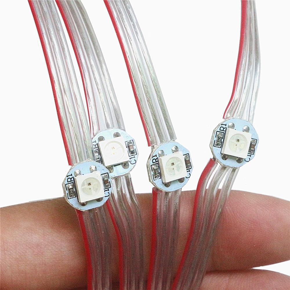 50pcs 100pcs WS2812B Per-wired LED Pixel Module String Light WS2812 LED Chips On Heatsink Full Color 5050 SMD RGB 5V Panel Strip