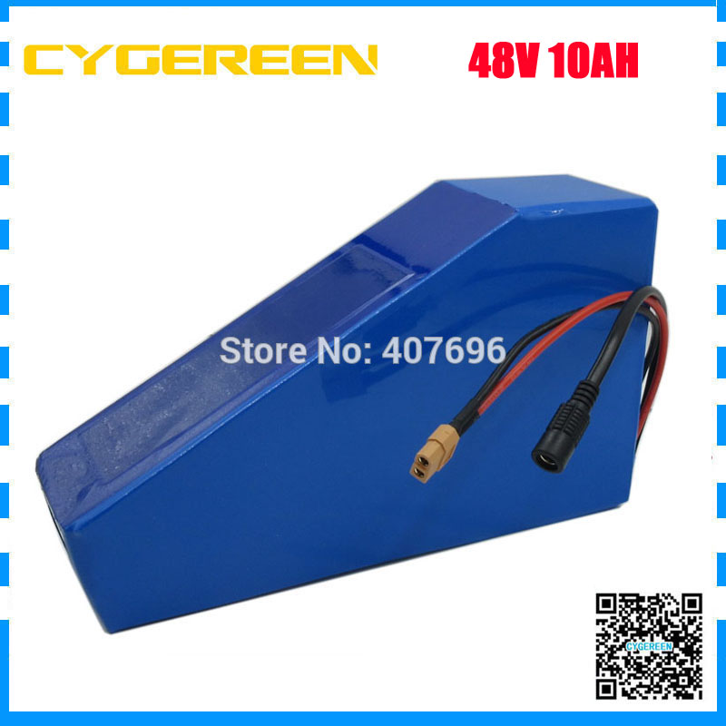 48V Lithium battery 48V 10AH battery pack 48 Volt Triangle ebike battery 10AH use 2000mah cell 15A BMS 2A Charger conhismotor atlas ebike 48v 11 6ah lithium ion down tube frame case battery pack for 10a 3c 18650 cell with bms and 2a charger