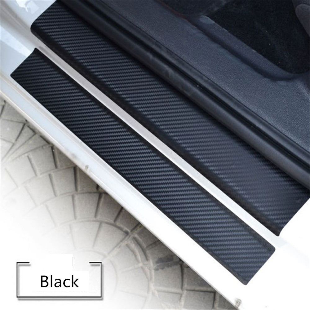 4PC Universal Car Door Scuff Sill Plates Step Protector Cover Carbon Sticker USA
