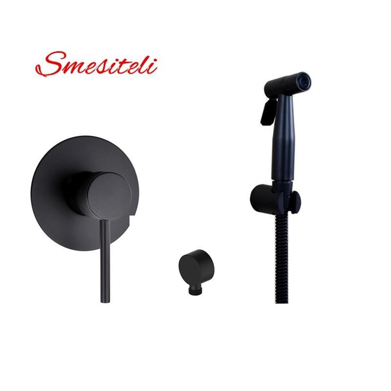 Smesiteli High Grade Round Style 10YrWarranty Matte Black SUS304 Hot Cold Handheld Bidet Sprayer With Brass