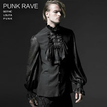 Male Gothic Chiffon Emnossing Shirt Punk rave Fashion Novelty