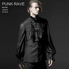 Male Gothic Chiffon Emnossing Shirt Punk rave Fashion Novelty