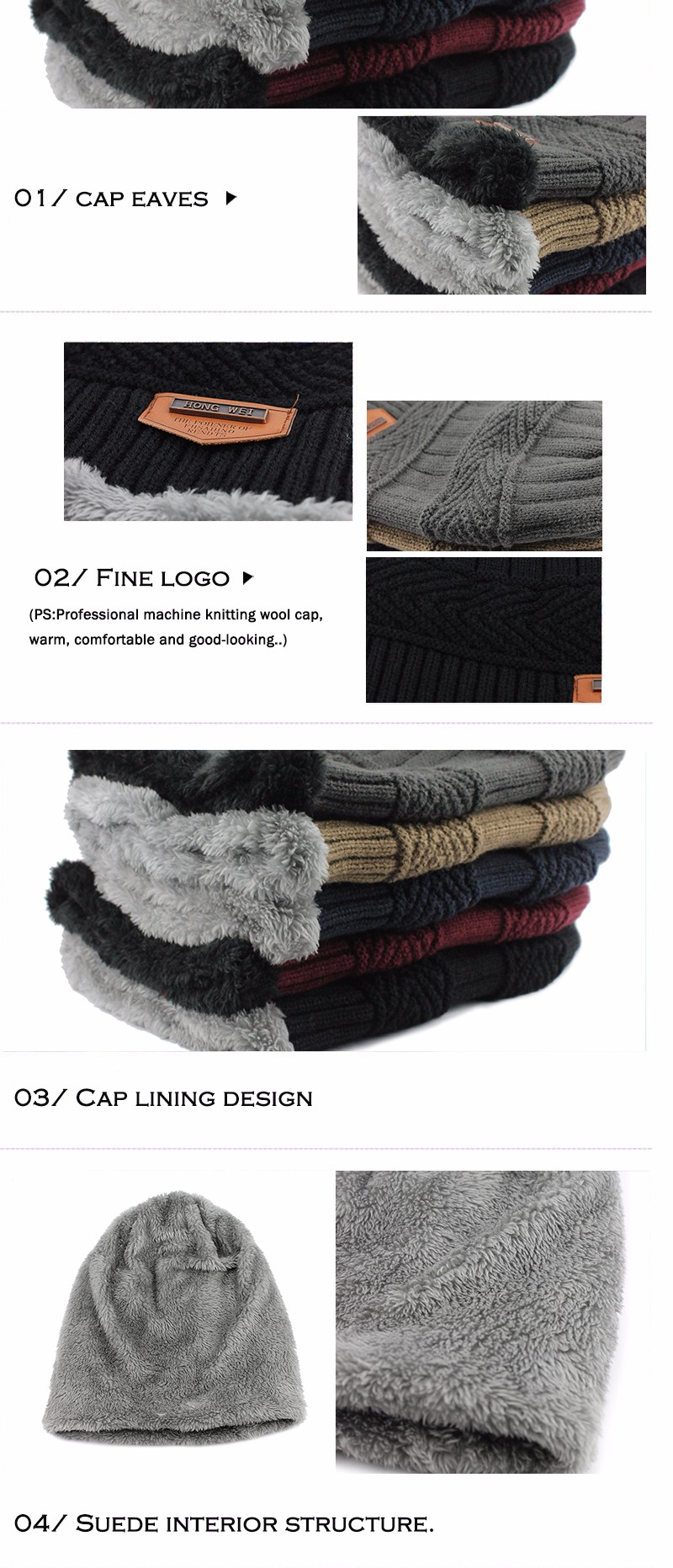 FETSBUY Pure Color Winter Skullies Beanies Hat Knit Winter Hat For Man Warm Hat Velvet Cap Bonnet Toucas Inverno Knitted Hats 30