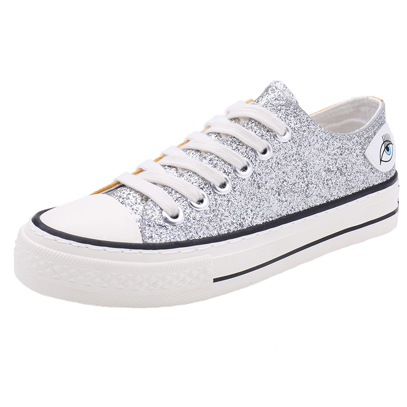 YeddaMavis Shoes Bling Sequin Low Help Canvas Women Sneakers New Fashion Lace Up Womens Woman Trainers