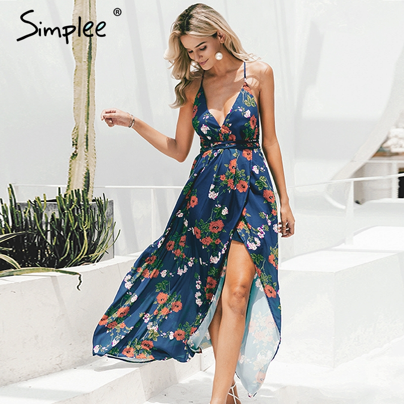 CUERLY Backless boho floral print long dress Women Deep v neck chiffon sexy summer dress Autumn maxi dress party vestidos 2019 in Dresses from Women 39 s Clothing