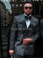 Latest Coat Pant Designs 2018 Fashion Houndstooth Grid Double Breasted Men Suit Tuxedo Wedding Prom Suits Costume Homme
