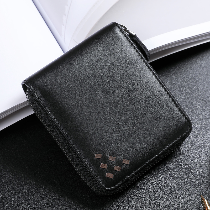 BAQI Brand Men Wallets Genuine Leather Cowhide High Quality Coin Purse 2019 Fashion Card Holder Man Zipper Wallet Short Male Wallets     - title=