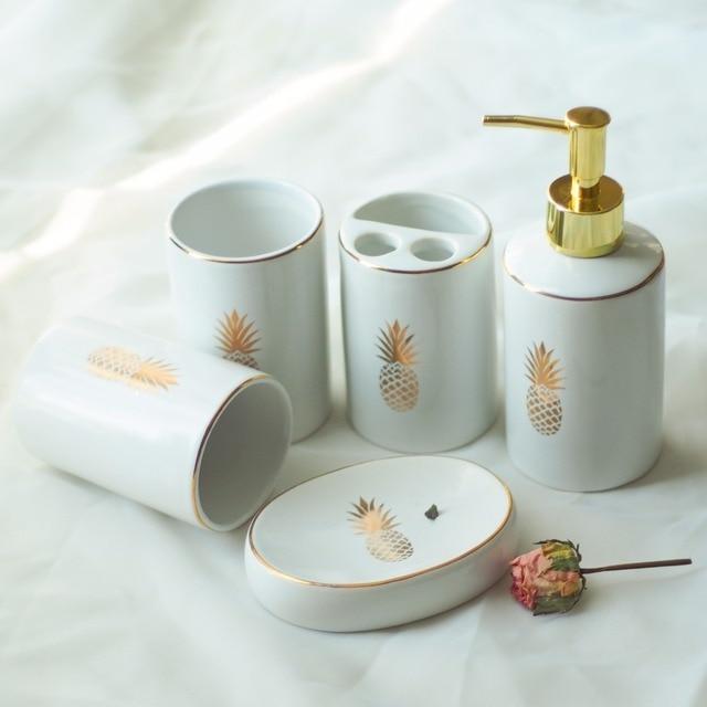 5pcs/set European Style Ceramic Print Golden Pineapple Bathroom Set Liquid  Soap Dispenser Porcelain Soap