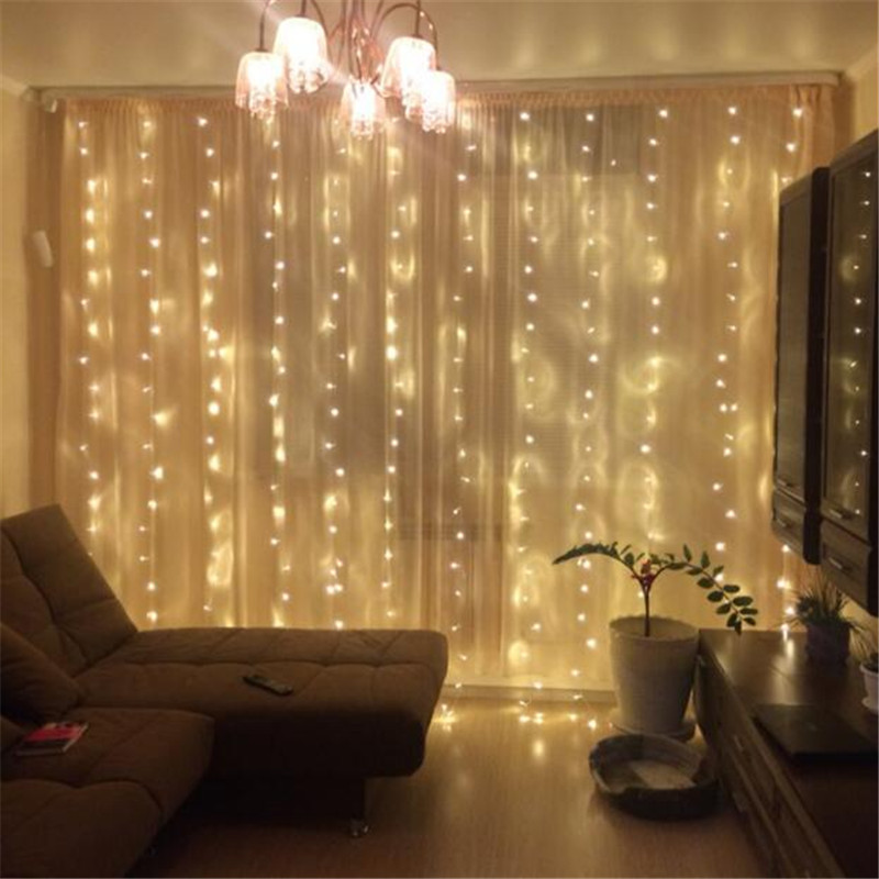 Año nuevo 3 m x 3 m cortina exterior Icicle 300luces de cadena LED 8 modos guirnalda de hadas hogar para vacaciones de Navidad fiesta de boda
