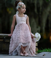 New Little Girls Pageant Gown Lavender High Low Jewel Flower Girl Dresses For Teens Formal Holy Communion Dresses
