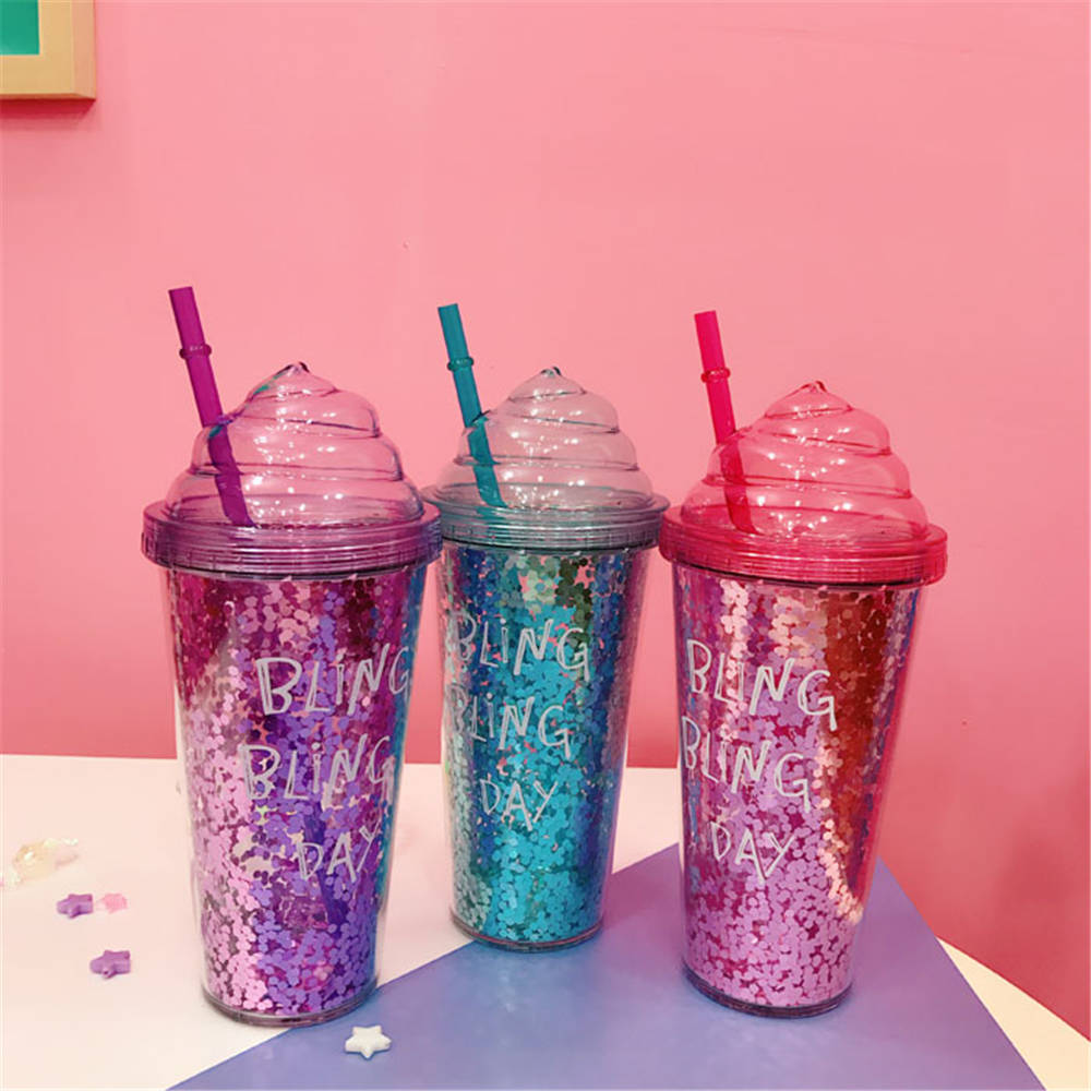 Summer Plastic Shake Cool Cup Double Healthy Seal Bow Kwaii Pink Cup  With Sandwich Food Grade Refrigerant Gel Particles