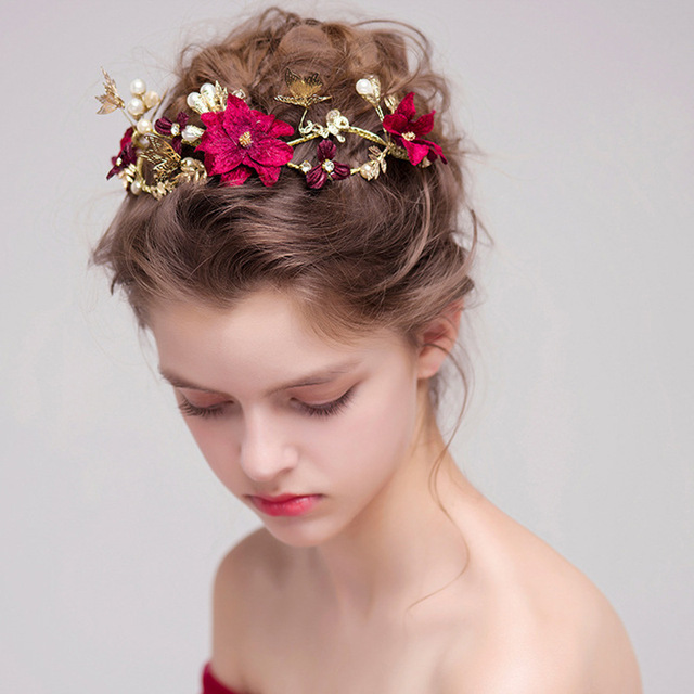 Artificial Flower Garland Women Wedding Decoration Flower Girl Hair Wreath  Floral Headband Head Flower Crown Flower Garland 6e60168afcf