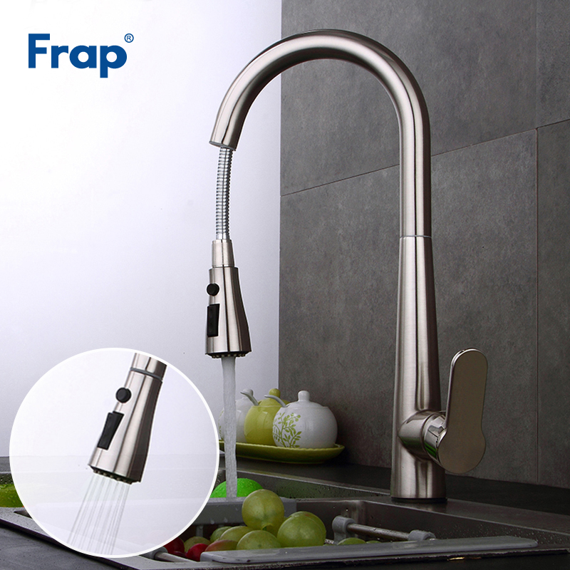 Frap New Kitchen Faucet Brass Nickel Brushed Sink Faucet Pull Out 360 Rotation Faucets for Kitchen
