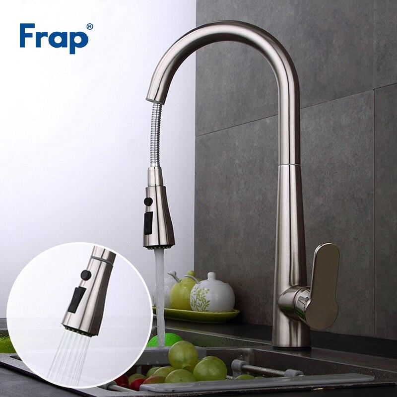 Frap nouveau robinet de cuisine en laiton Nickel brossé évier robinet tirer 360 robinets de Rotation pour cuisine robinet mélangeur torneira Y40062
