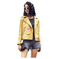 New Women Slim Pu Faux Soft Leather Jacket Pink Leopard Printing Black Moto Bikers Bomber Leather Jacket Coat Jaqueta Couro