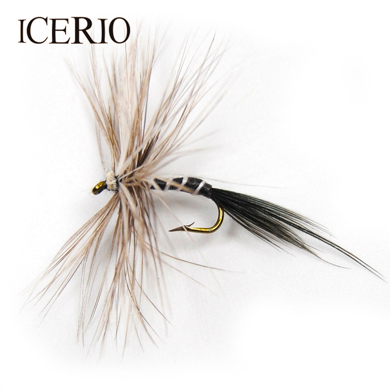 ICERIO 8PCS Grey Mosquito Fly Zebra Dry Flies Trout Fly Fishing Lures #12 fly e135 grey tv