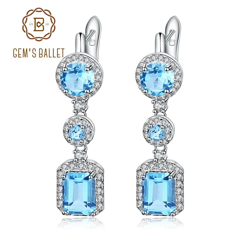 Gem s Ballet 6 29Ct Natural Swiss Blue Topaz Drop Earrings 925 Sterling Silver Vintage Earrings