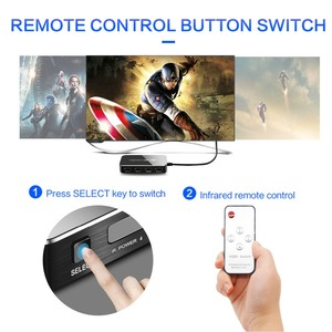 Image 4 - Mini HDMI Switcher with an IR Remote 4 in 1 out, 4k/60Hz 2.0 Version Full HD 1080P HDCP Switcher 3D for HDTV PS4 BLU Ray DVD TV