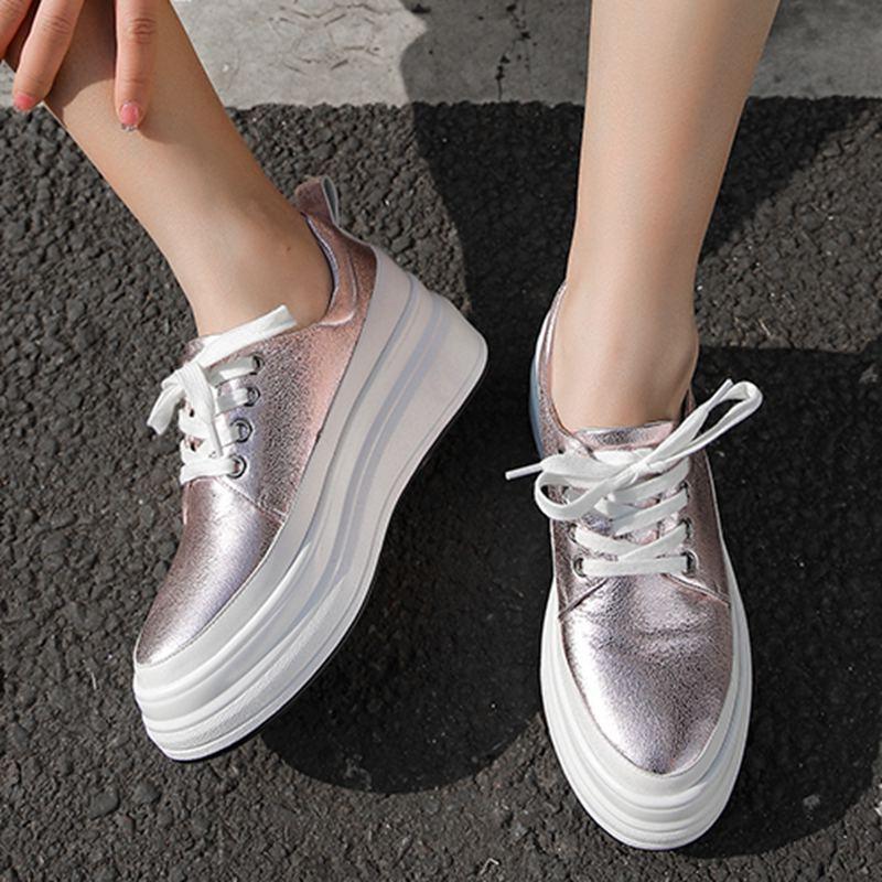 L15 2019 Dedo Plataforma Azul Gran Deporte Sólido Zapatillas rosado Preppy Redondo Zapatos Vulcanizados Tamaño De Casual Genuino Mujer Pie Tacón Estilo Del Cuero qS4FqwA