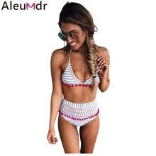 be3c8336b1b508 Aleumdr 2019 najnowszy Hot kobiety wyściełana stroje kąpielowe Tassel  wysokiej talii strój kąpielowy lato Boho bikini