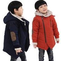 לילדים מעיל חורף בנים מעילי רוכסן ברדס אופנה כחול & ילדי מעיל פרווה עבה ילד של נער בגדים להאריך ימים יותר חמים שלג מעיל