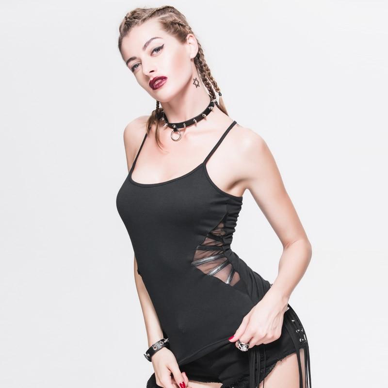 Devil Fashion Black Corset Fit Gothic Racerback Tank Tops For Women Elastic Soft Ladies Cotton Backless