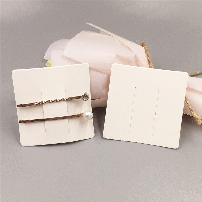 200Pcs White Cardboard Jewelry Hairpin Packaging Card Handmade Love Hair Brooch Accessories Display Card 6x6cm