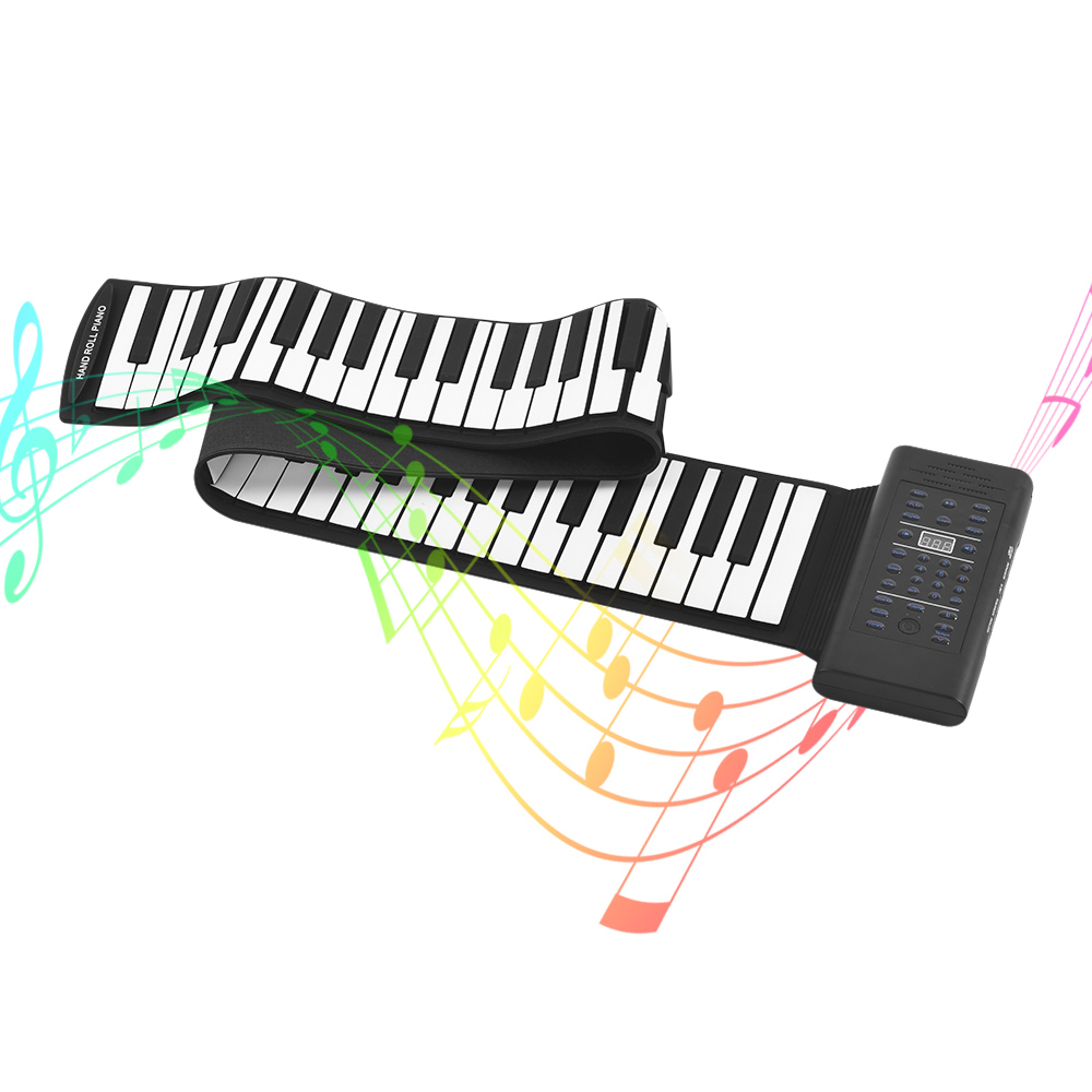 88 Keys Roll Up Piano Electronic Keyboard Silicon Built in Stereo Speaker 1000mA Li ion Battery