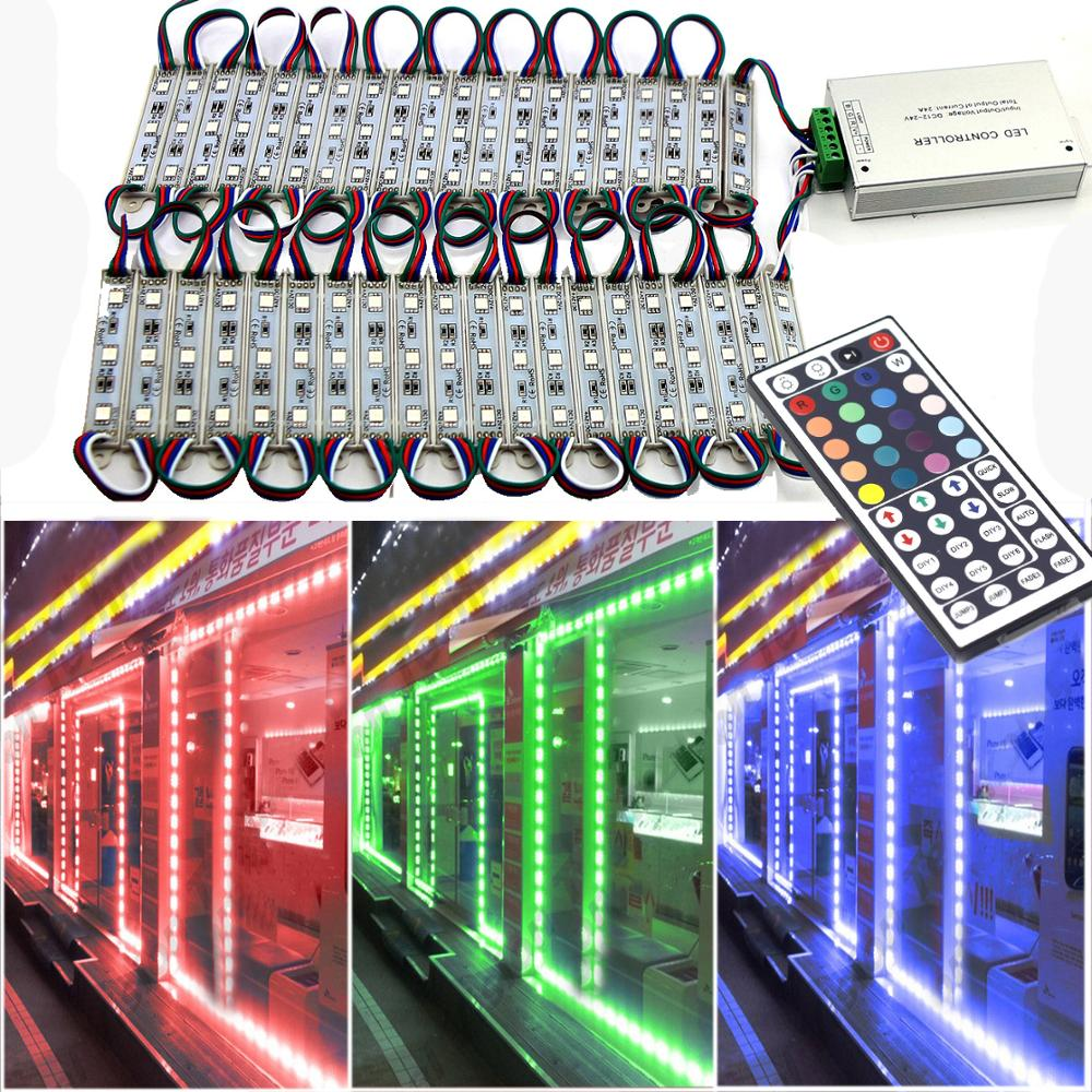 RGB Module Light 3 LED DC12V Waterproof Light SMD 5050 LED Store Window Advertising Sign Strip Lamp Modules Lights RGB Color