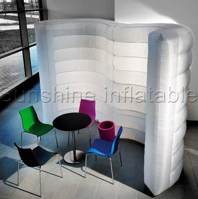 Mini Curved Portable Room Divider Inflatable Air Wall With Colorful Lighting