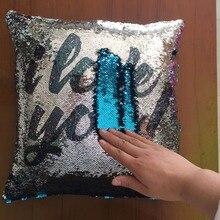 Reversible Mermaid Sequin Throw Pillow Glitter Cushion Cover Pillowcase